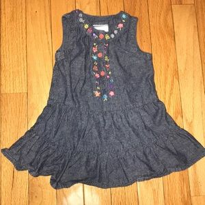 Okie Dokie Chambray Embroidered Dress 12 Months
